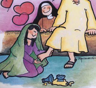 Magdalena lava los pies de Jesús